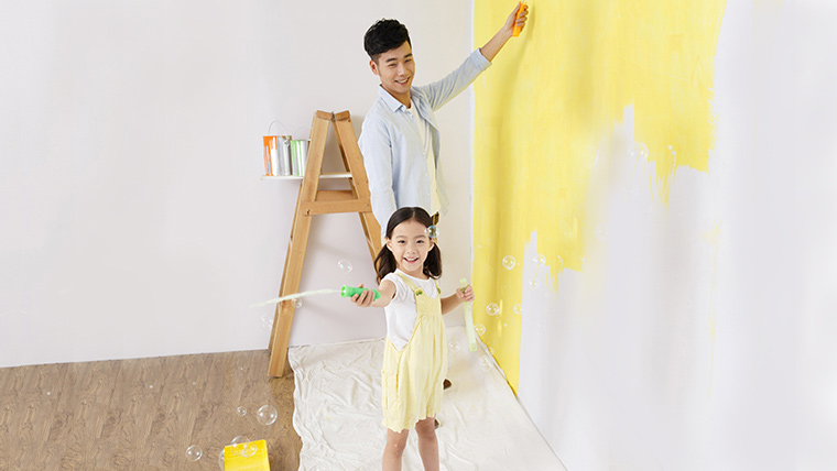 father and daughter playing together;the image used for home mortgage loan